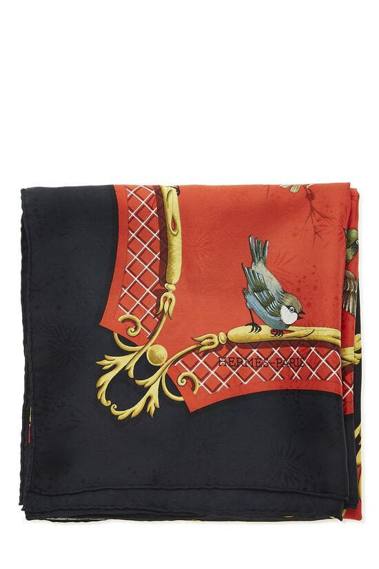 Red & Multicolor 'La Clé des Champs' Silk Scarf 90, , large image number 1