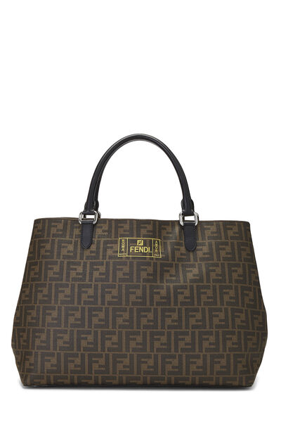 Brown Zucca Coated Canvas Roma Shopping Tote
