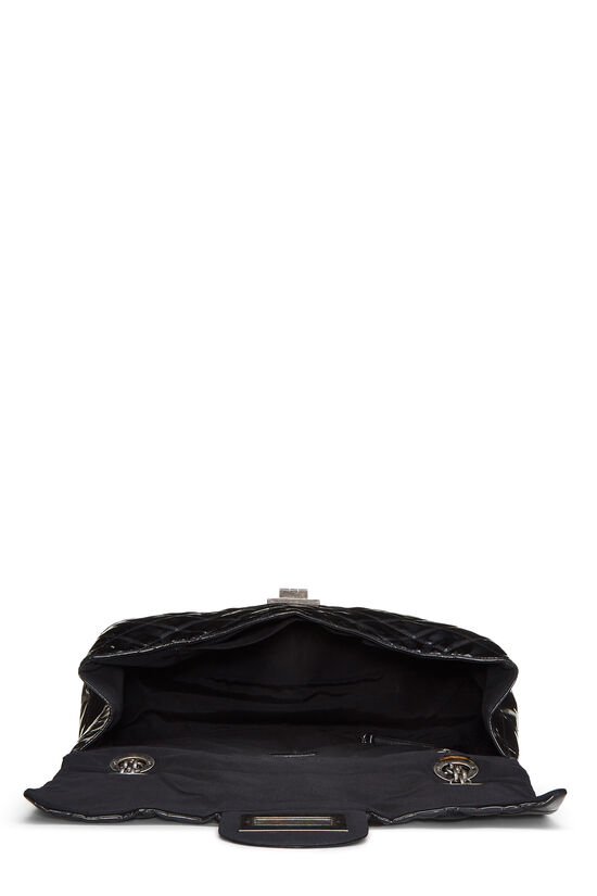 Black Quilted Patent Leather Reissue Flap Bag XL, , large image number 5