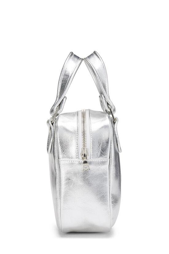 Metallic Silver Leather Logo Handbag Small, , large image number 2