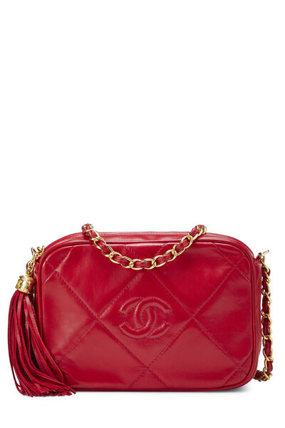 Red Lambskin Diamond 'CC' Camera Bag Mini
