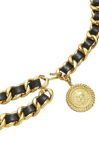 Gold & Black Leather Chain Belt 2, , large