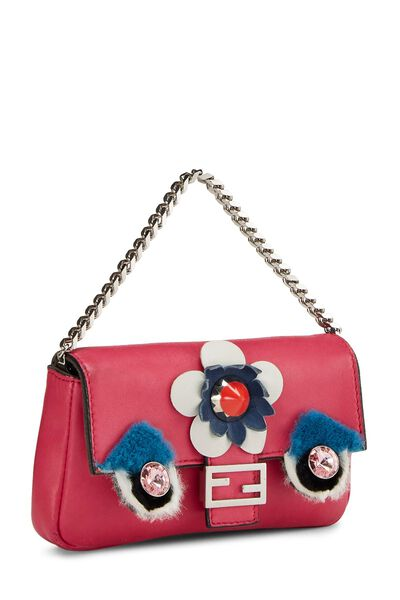 Pink Nappa Leather Monster Baguette Micro, , large