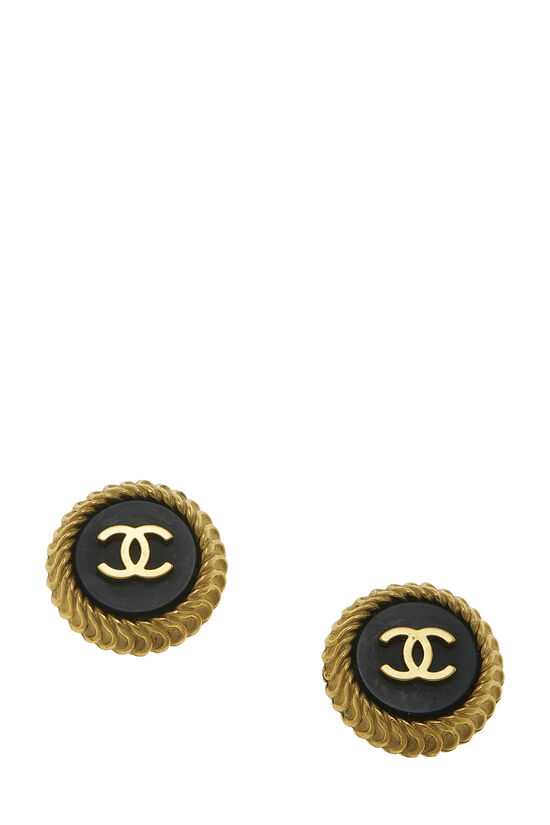 Black & Gold 'CC' Round Earrings, , large image number 0