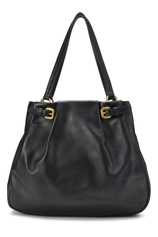 Black Leather Shoulder Bag Medium, , large image number 3