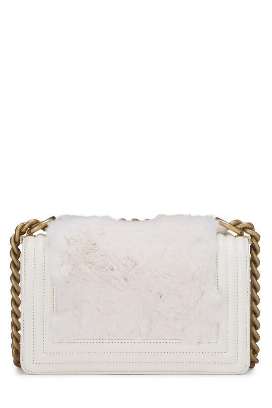 White Fur & Calfskin Boy Bag Small, , large image number 4