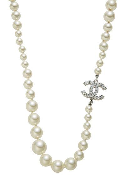 Faux Pearl 'CC' Long Necklace, , large