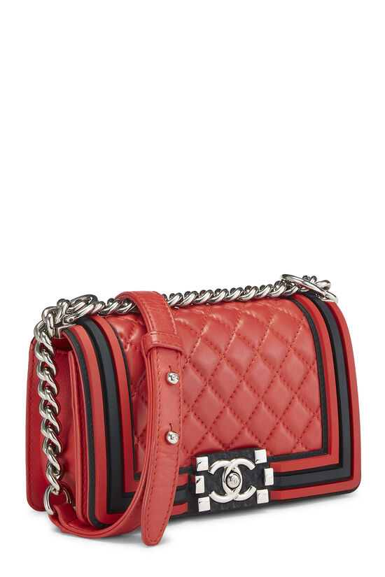 Red Quilted Lambskin Rubberized Boy Bag Small, , large image number 2