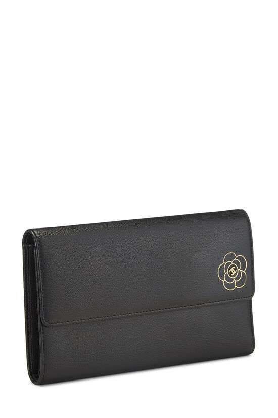 Black Calfskin Camellia Wallet, , large image number 1