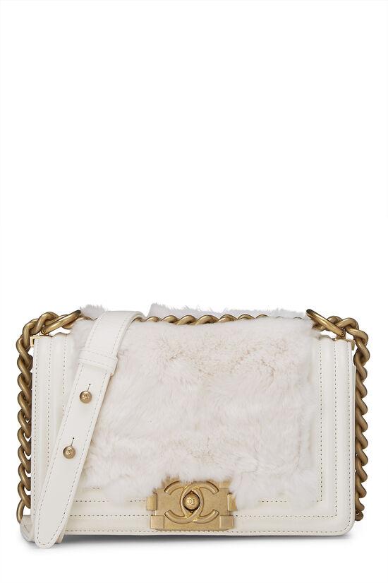 White Fur & Calfskin Boy Bag Small, , large image number 0
