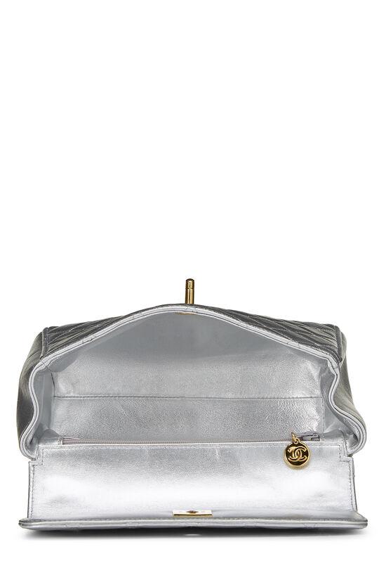 Metallic Silver Lambskin Top Handle Bag, , large image number 5