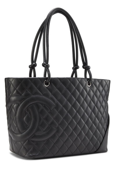 Black Quilted Calfskin Cambon Tote Large, , large