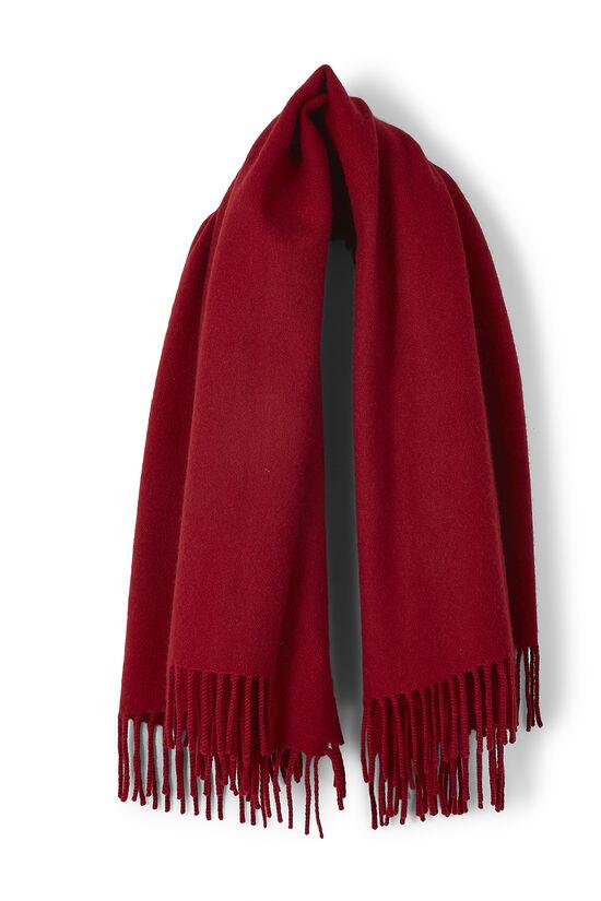 Red Cashmere Fringe Stole, , large image number 0