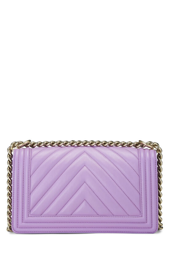 Purple Chevron Lambskin Boy Bag Medium, , large image number 4