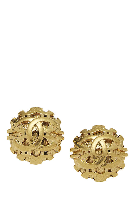 Gold Woven CC Earrings, , large image number 0