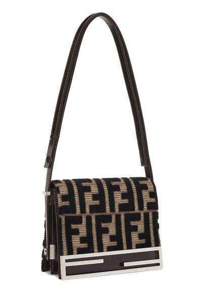 Brown & Black Velvet Zucca Shoulder Bag Small, , large