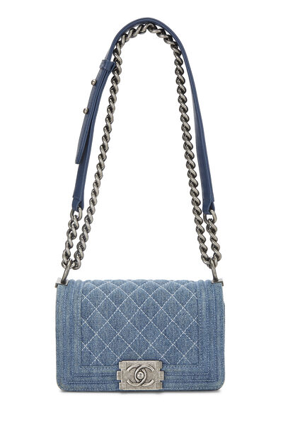 Blue Quilted Denim Boy Bag Small, , large