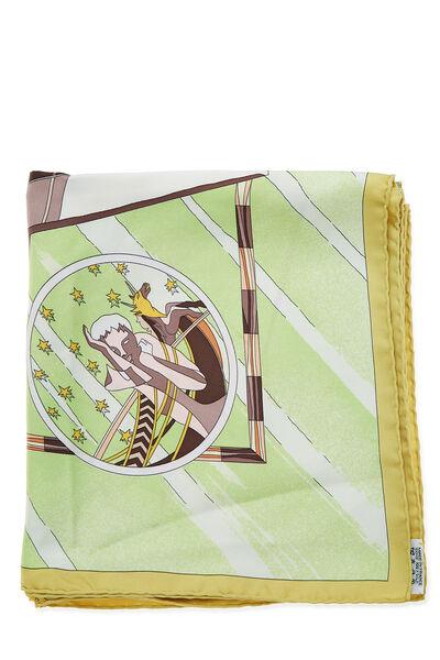 Green & Multicolor 'Face Au Large' Silk Scarf 90, , large