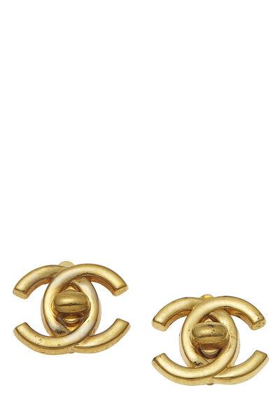 Gold 'CC' Turnlock Earrings Medium