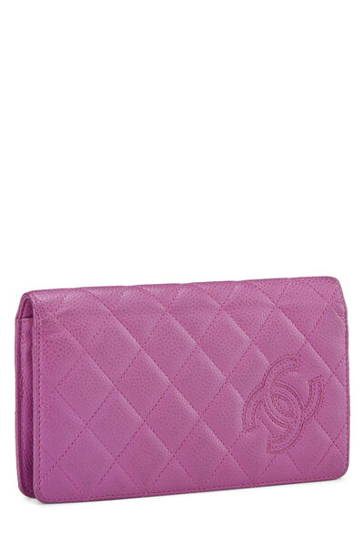 Purple Quilted Caviar Yen Wallet, , large