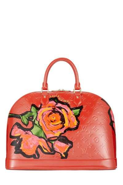 Stephen Sprouse x Louis Vuitton Orange Sunset Monogram Vernis Roses Alma GM