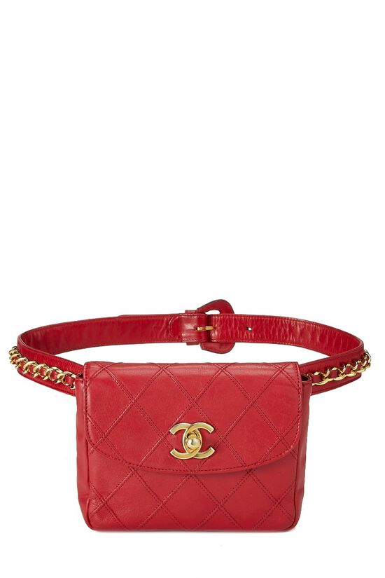 Red Quilted Lambskin Belt Bag, , large image number 0
