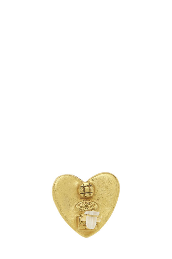 Gold 'CC' Heart Earrings, , large image number 2