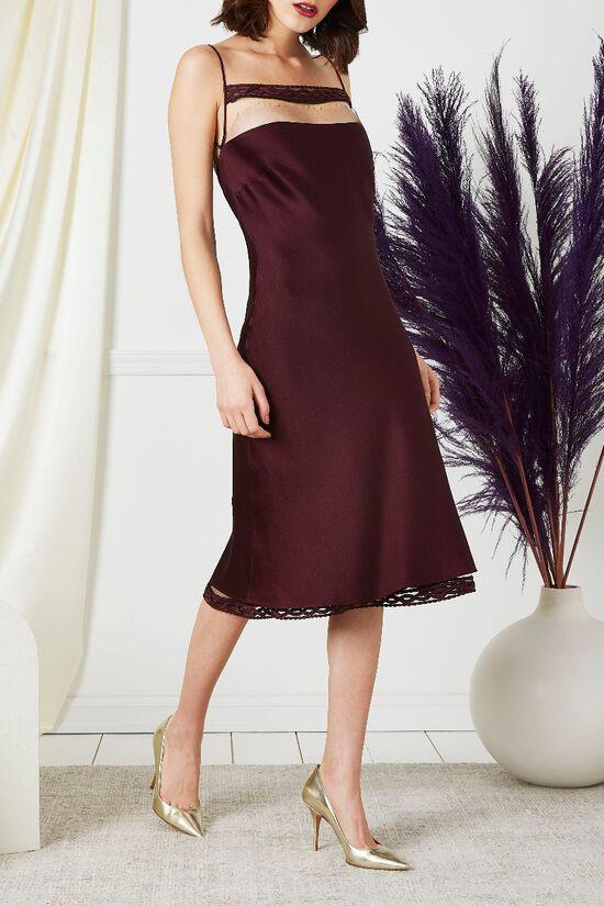 Purple Drop Chest Satin Dress, , large image number 2