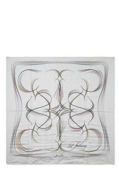 White & Multicolor '24 Faubourg' Silk Scarf 90