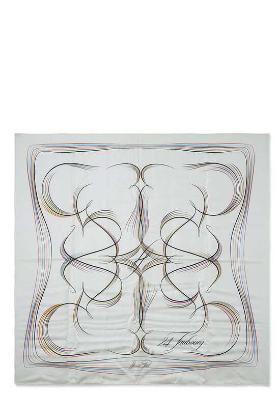 White & Multicolor '24 Faubourg' Silk Scarf 90, , large image number 0