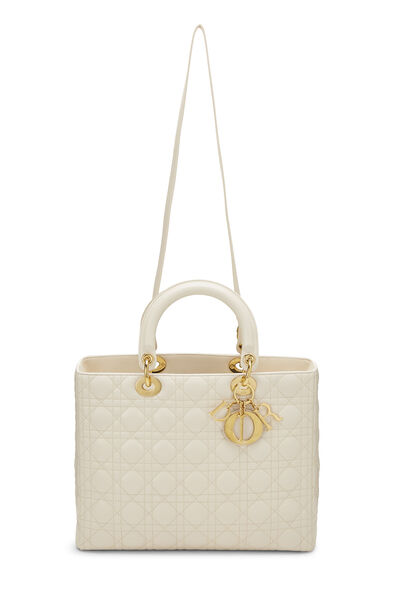 Ivory Cannage Quilted Lambskin Lady Dior Large, , large