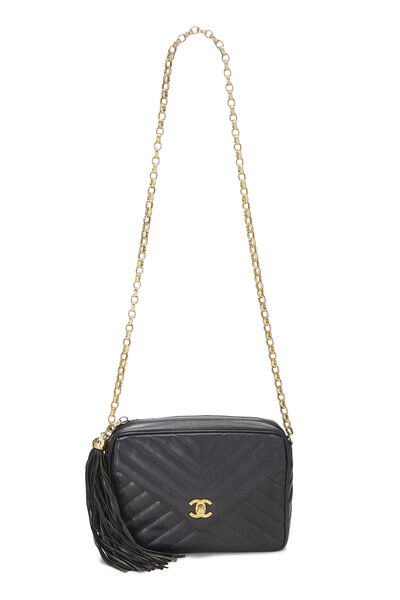 Black Chevron Caviar Pocket Camera Bag Medium, , large
