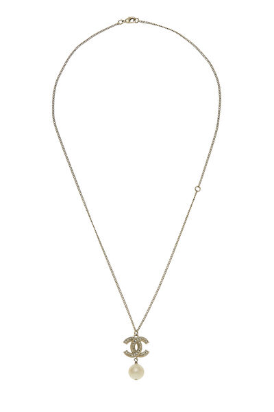 Gold 'CC' & Faux Pearl Necklace