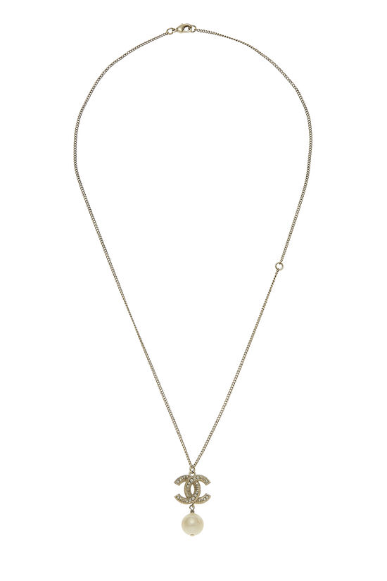 Gold 'CC' & Faux Pearl Necklace, , large image number 0