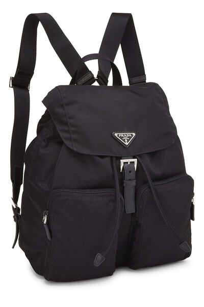 Black Tessuto Nylon Backpack Small, , large