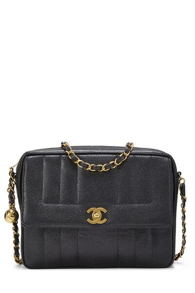 Black Vertical Caviar Pocket Camera Bag Medium