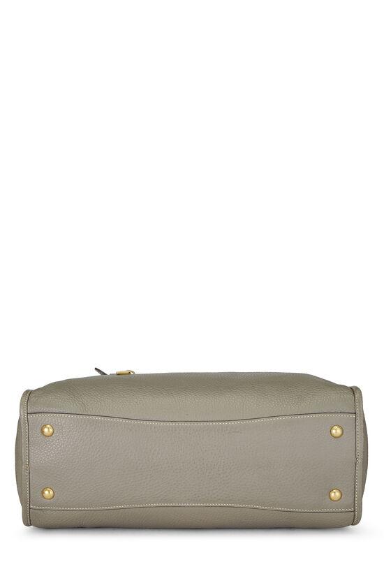 Grey Vitello Daino Boston Bag, , large image number 4