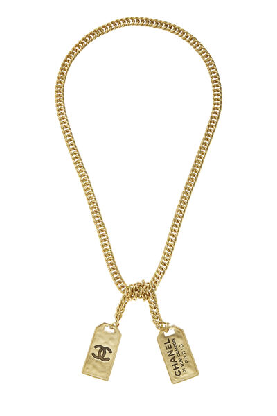 Gold Cambon Tag Wrap Necklace, , large