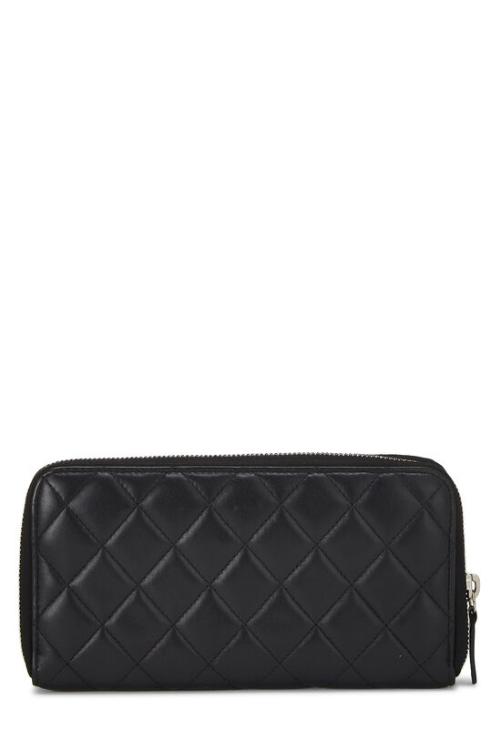 Black Quilted Lambskin Zip Wallet, , large image number 2