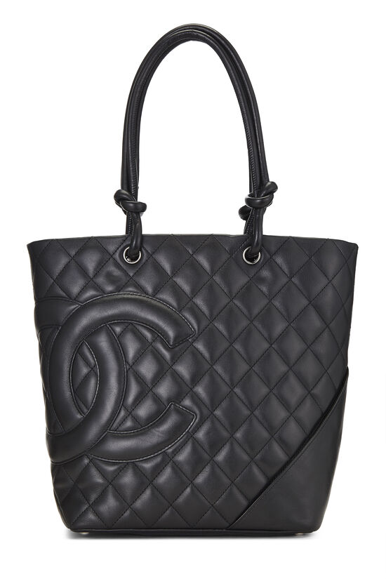 Black Quilted Calfskin Cambon Tote Small, , large image number 0