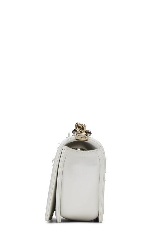 White & Multicolor Tweed Chevron Chain Boy Bag Medium, , large image number 3