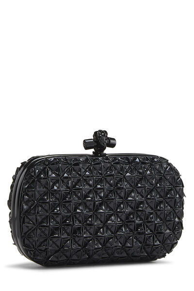Black Patent Leather Origami Knot Clutch, , large