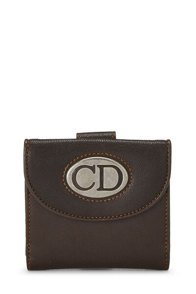 Brown Leather Logo Compact Wallet