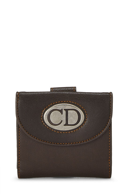 Brown Leather Logo Compact Wallet, , large image number 0