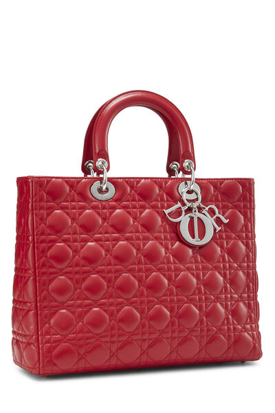 Red Cannage Quilted Lambskin Lady Dior Large, , large