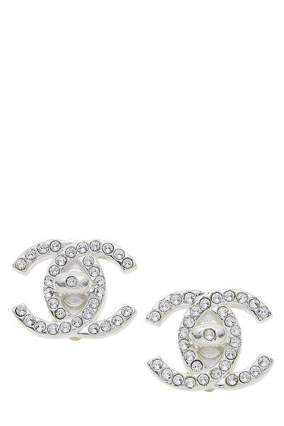 Silver & Crystal 'CC' Turnlock Earrings Medium