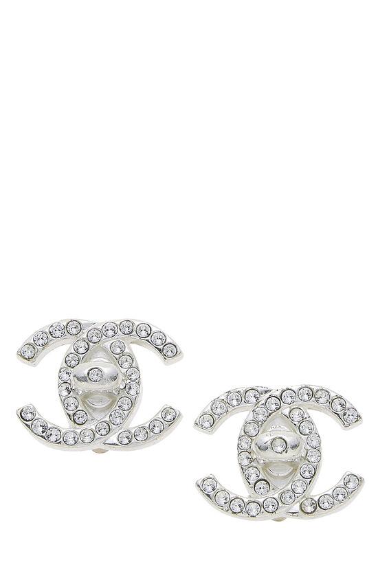 Silver & Crystal 'CC' Turnlock Earrings Medium, , large image number 0