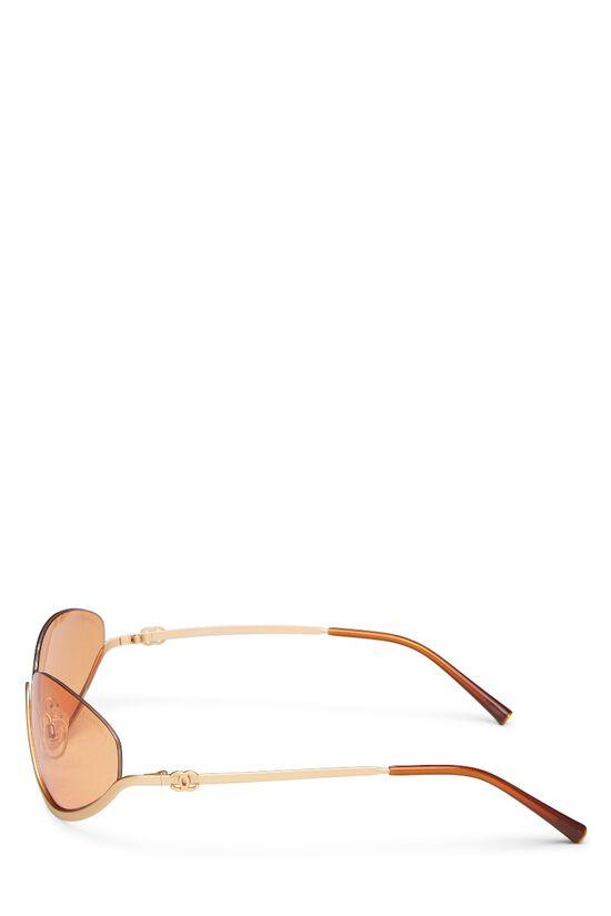 Gold Metal Half Rim Sunglasses, , large image number 3