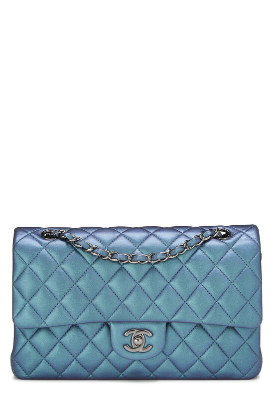 Iridescent Blue Quilted Lambskin Classic Double Flap Medium, , large image number 0