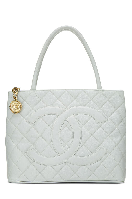 Blue Quilted Caviar Medallion Tote, , large image number 0